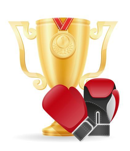 boxning kopp vinnare guld lager vektor illustration