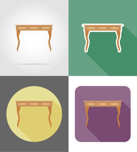 illustrazione piana di vettore delle icone stabilite della mobilia della tavola