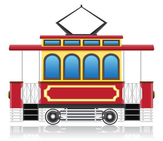gammal retro spårvagn vektor illustration