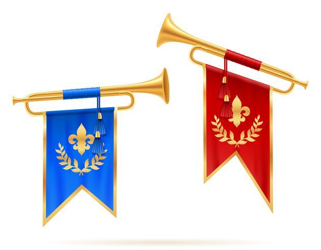 Ilustración de vector de trompeta de cuerno de oro real