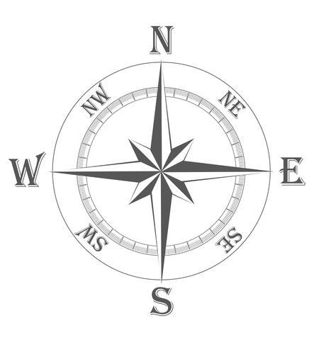 illustrazione vettoriale antica rosa dei venti