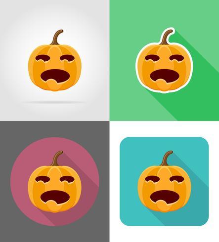 Ilustración de vector de iconos planos de calabaza de Halloween