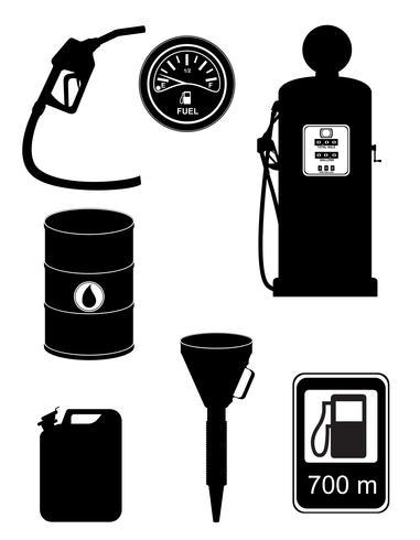 combustible negro silueta establece iconos vector illustration