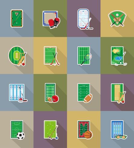 Estadio del patio de recreo y campo para iconos planos de juegos de deportes ilustración vectorial
