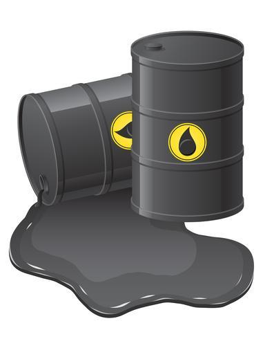 barili neri con illustrazione vettoriale di olio versato