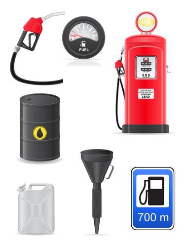 brandstof stel pictogrammen vectorillustratie