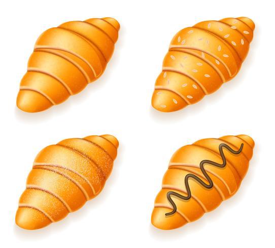 establezca los iconos de croissants crujientes frescos con semillas de sésamo, chocolate y azúcar en polvo, ilustración vectorial
