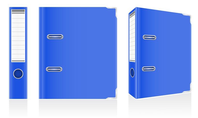 folder blue binder metal rings for office vector illustration