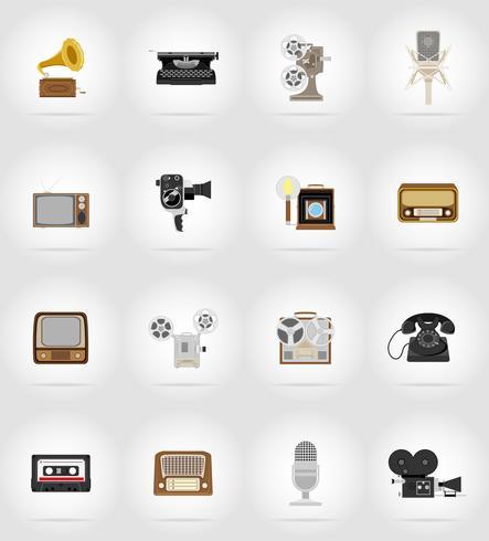 gammal retro vintage multimedia platt ikoner vektor illustration
