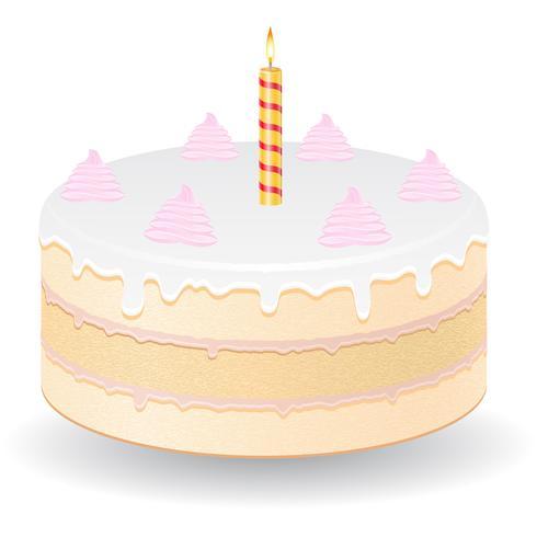 torta con bruciando candela illustrazione vettoriale