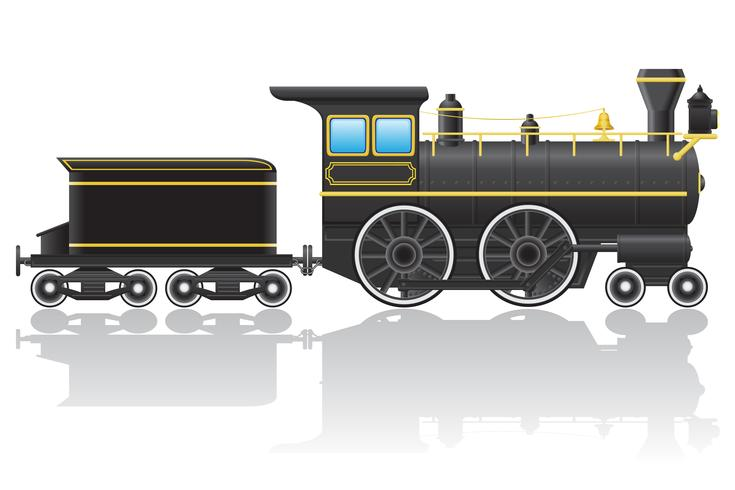 vecchia illustrazione vettoriale locomotiva retrò