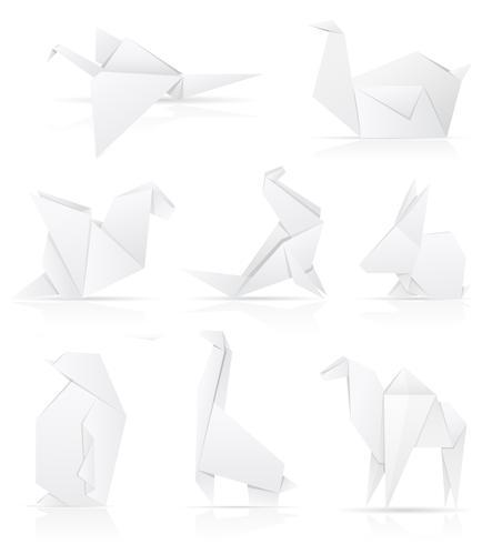 set icons origami paper animals vector illustration