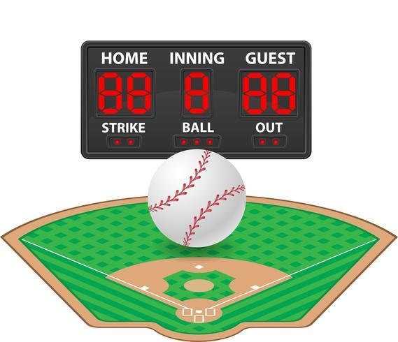 illustrazione di vettore del tabellone segnapunti digitale di sport di baseball