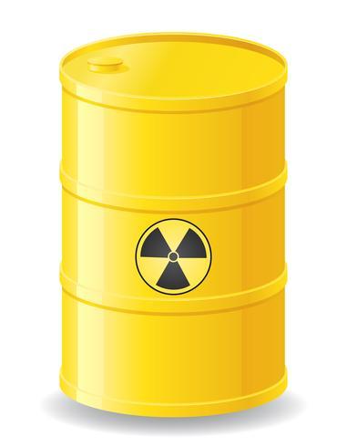Barril amarillo de la ilustración de vector de residuos radiactivos