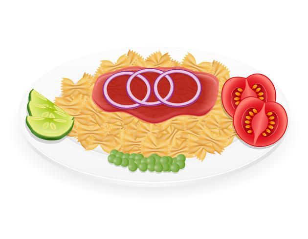 macarrão em um prato com legumes ilustração vetorial