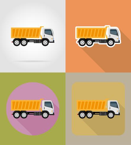 tipper truck for construction flat icons vector illustration