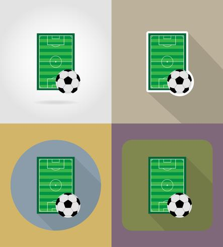 voetbal voetbal stadiun veld plat pictogrammen vector illustratie