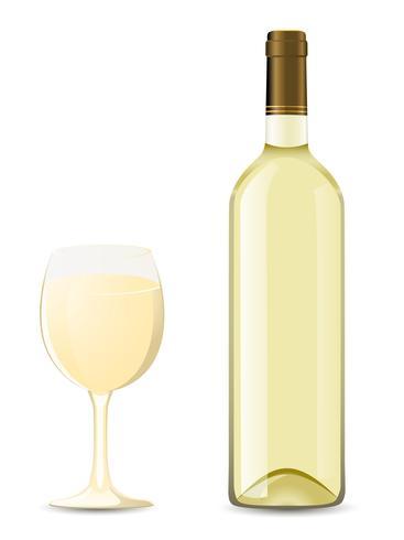 Botella y vaso con vino blanco. vector