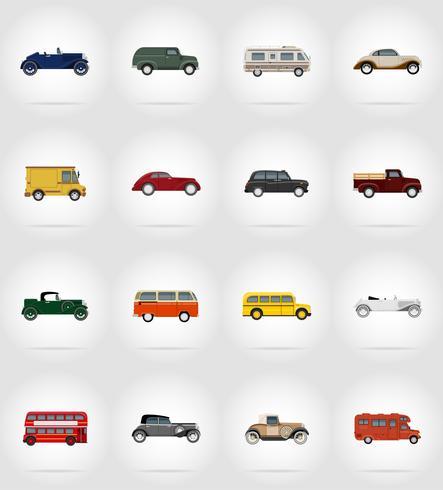 gammal retro transport platt ikoner vektor illustration