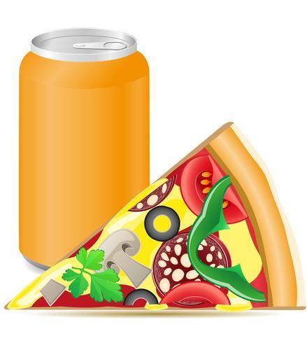 pizza e lattine di alluminio con soda