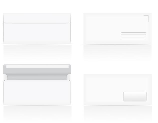 set of white blank envelopes vector illustration
