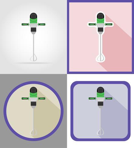 Herramientas de taladro eléctrico para la construcción y reparación de iconos planos vector illustration