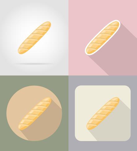 illustrazione piana di vettore delle icone dell'alimento e degli oggetti della pagnotta del pane