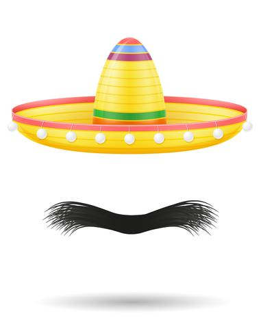 sombrero national mexican headdress and mustache vector illustration