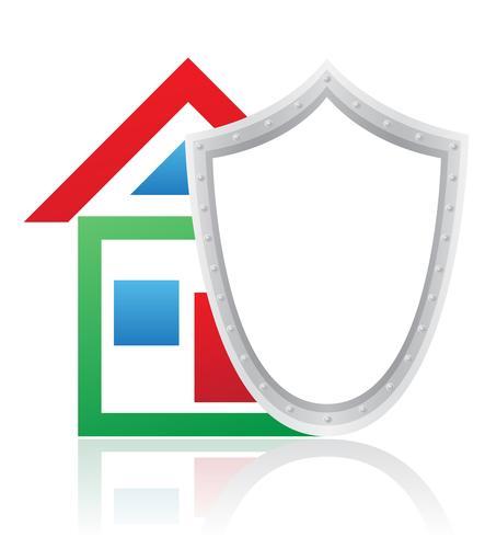 casa e escudo ilustração vetorial de conceito