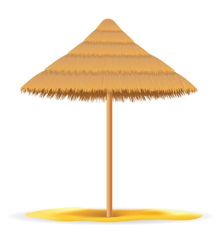sombrilla de playa hecha de paja y caña para la ilustración de vector de sombra