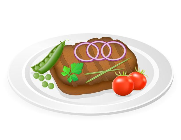 grilled steak with vegetables on a plate vector illustration