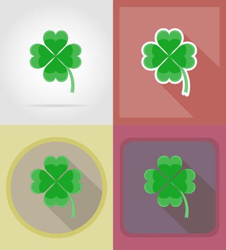 trébol para la buena suerte iconos planos vector illustration