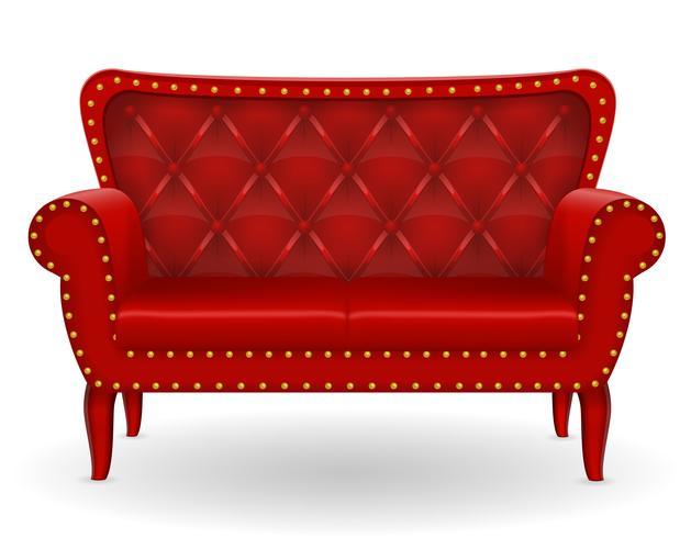 Sofá rojo muebles ilustración vectorial