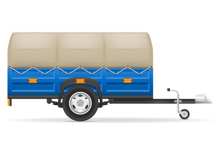 Remolque de coche para el transporte de mercancías ilustración vectorial