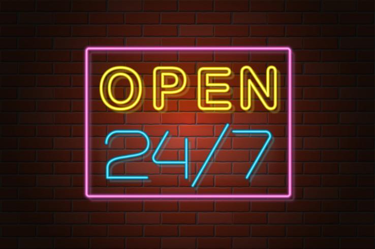 gloeiende neon uithangbord open vectorillustratie