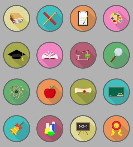 school education flat icons vector illustration