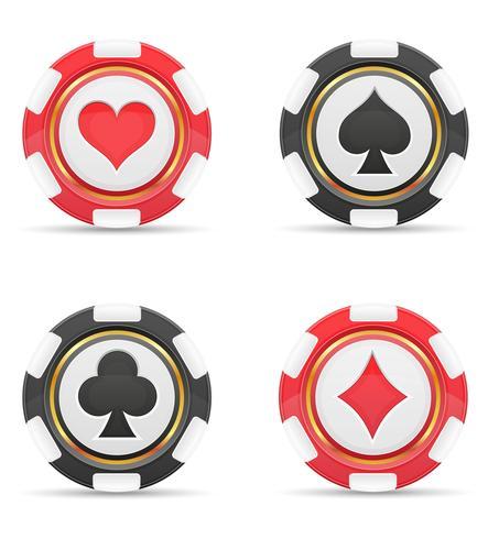 fichas de casino con juegos de cartas ilustración vectorial