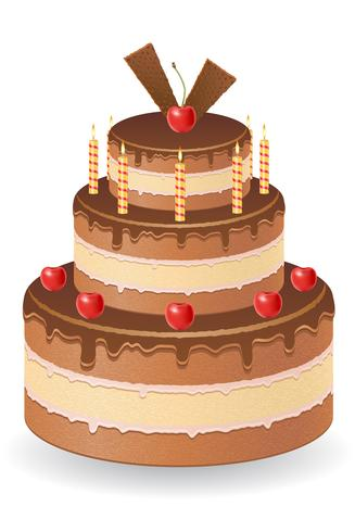 chocolate cake with cherries and burning candles vector illustration