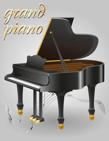 Instrumentos musicales de piano de cola stock vector ilustración