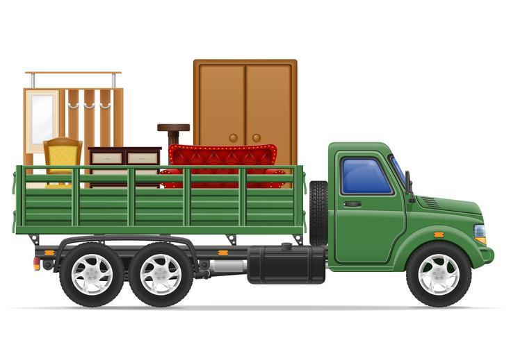 Entrega de camiones de carga y transporte de muebles concepto vector ilustración