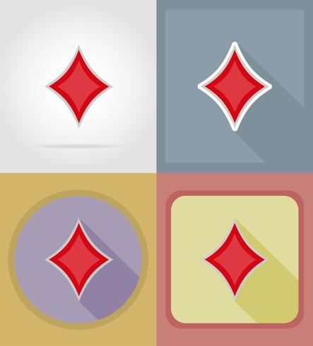 Flache Ikonen des Diamantkartenanzugkasinos vector Illustration