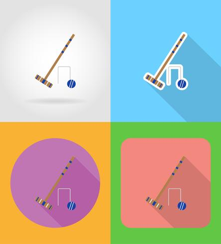 set equipment for croquet flat icons vector illustration