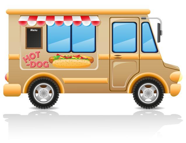 Ilustración de vector de comida rápida de hot dog de coche