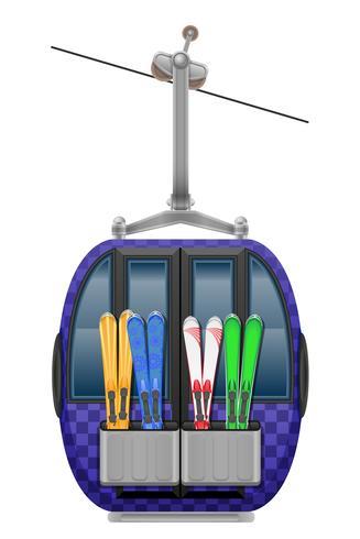Kabinen-Skilift-Vektor-Illustration
