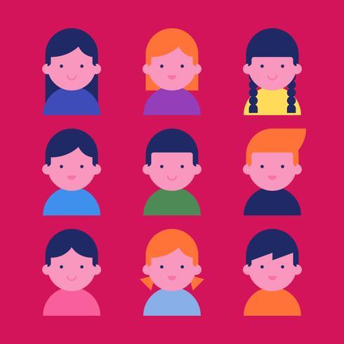 Set de personajes de avatares de niños felices vector