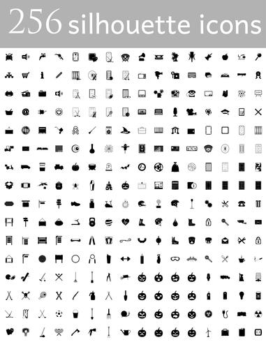 diverse set of flat icons silhouette vector illustration