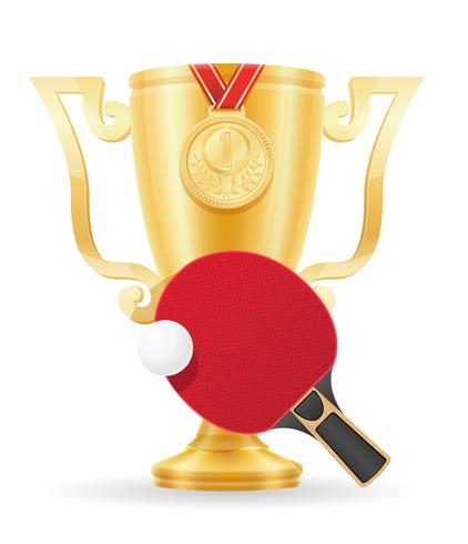 ilustração em vetor estoque ouro ping-pong cup vencedor