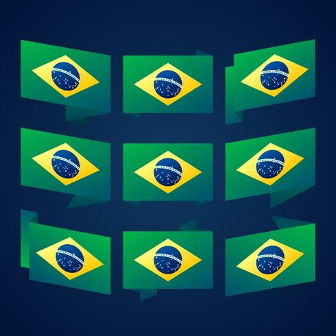Brasilien-Band-Flaggen-Vektor-Schablonen-Design-Illustration