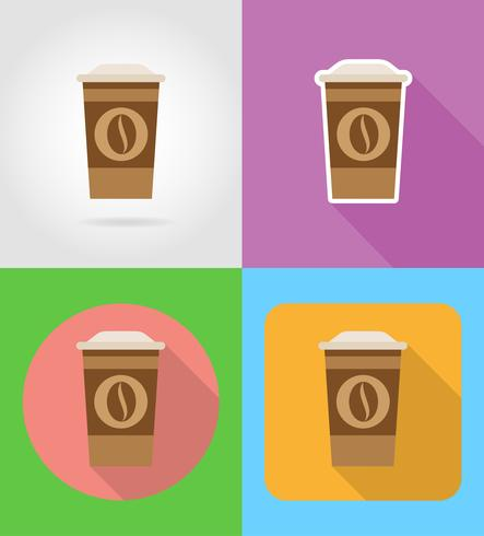 Café en una taza de papel iconos de comida rápida con la ilustración de vector de sombra