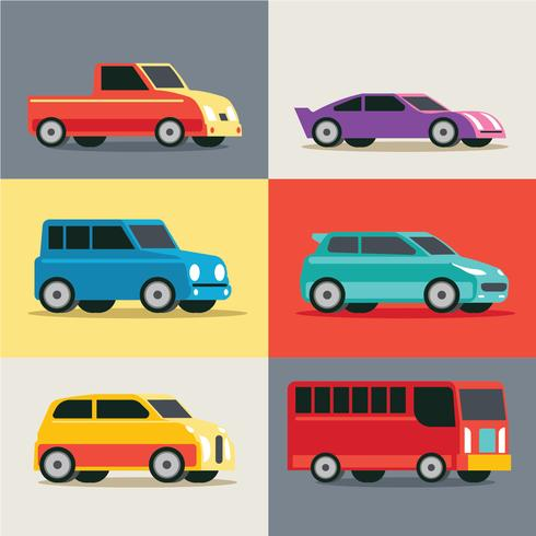 Städtischer, Stadtauto und Fahrzeugtransport-Vektor-Satz